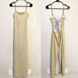 VINTAGE Metallic Gold Weave Lace Up Back Dress
